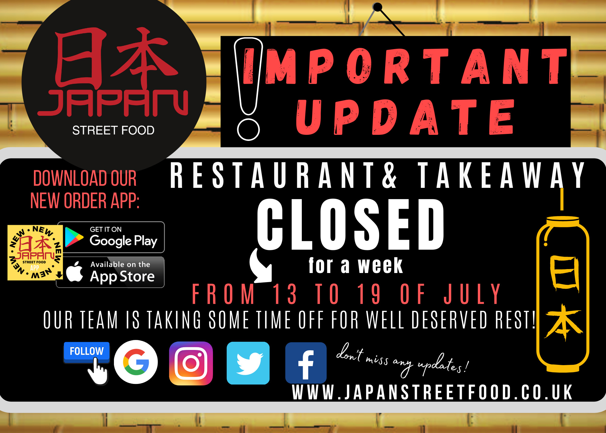 CLOSED Holiday notice Japan Street Food Paisley