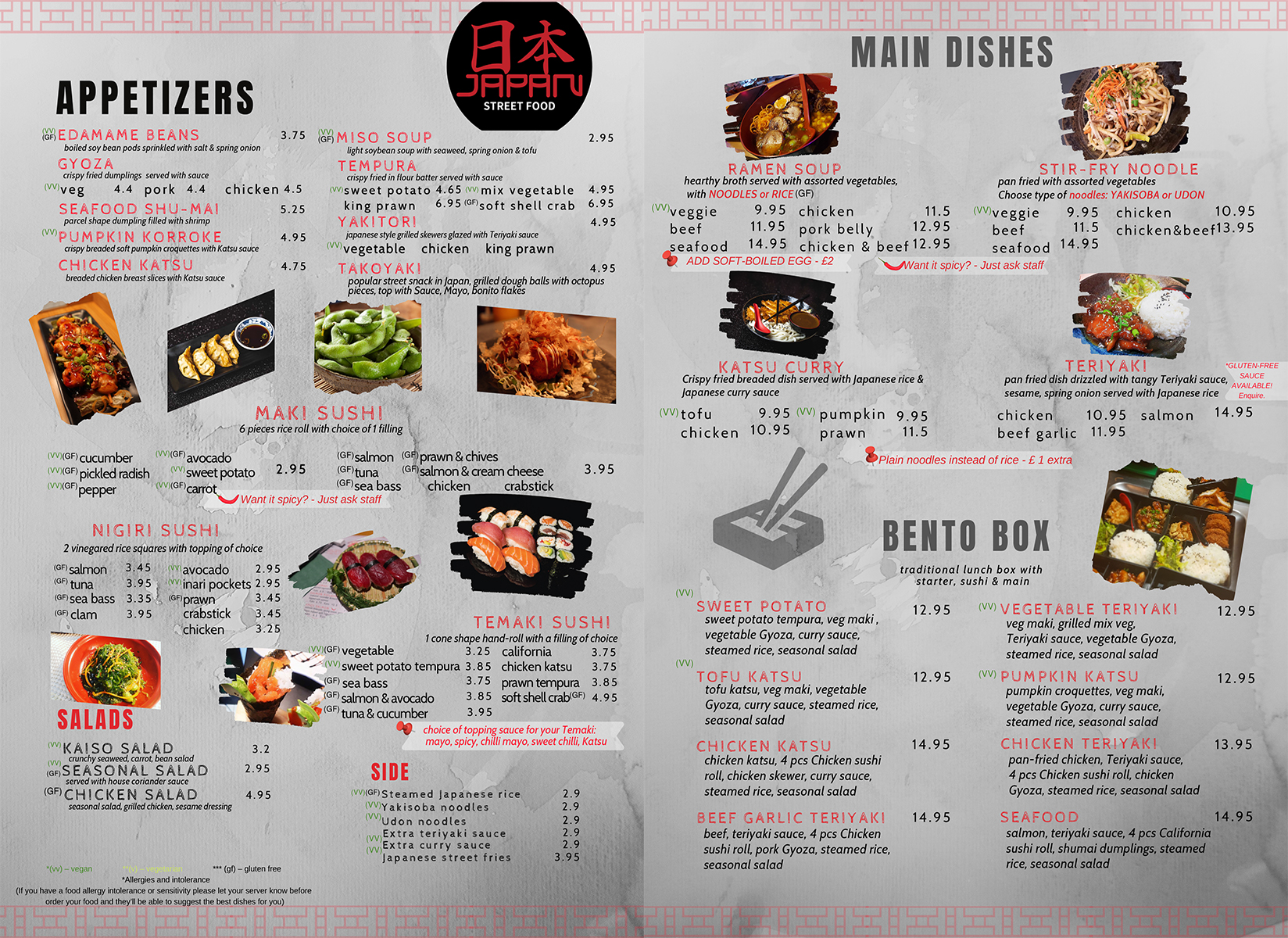 Japan Street Food Paisley - Dine In Menu
