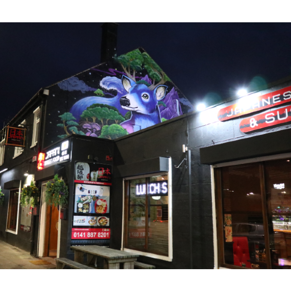 Exterior mural at Japan Street Food Paisley