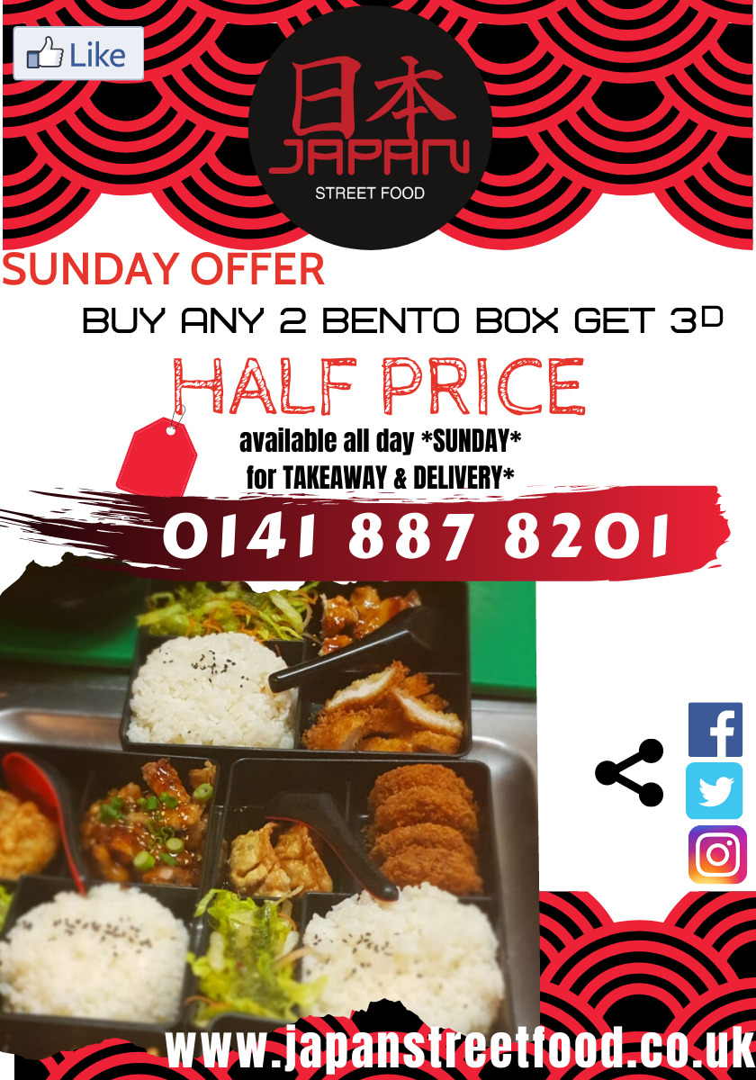 Sunday offer Buy any 2 bento - 3d half price Japan Street Food Paisley