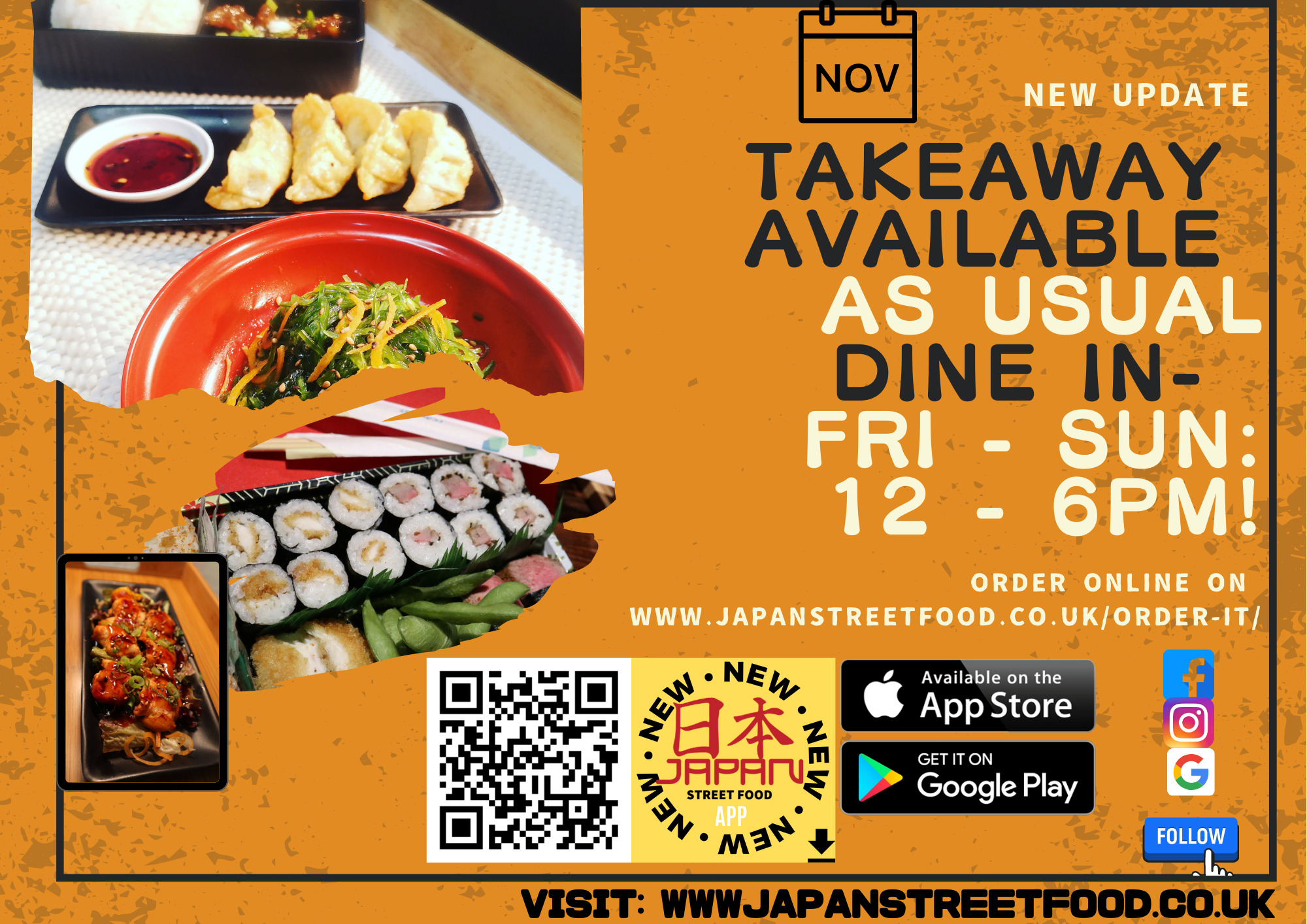 DINE IN 12 - 6PM Japan Street Food Paisley