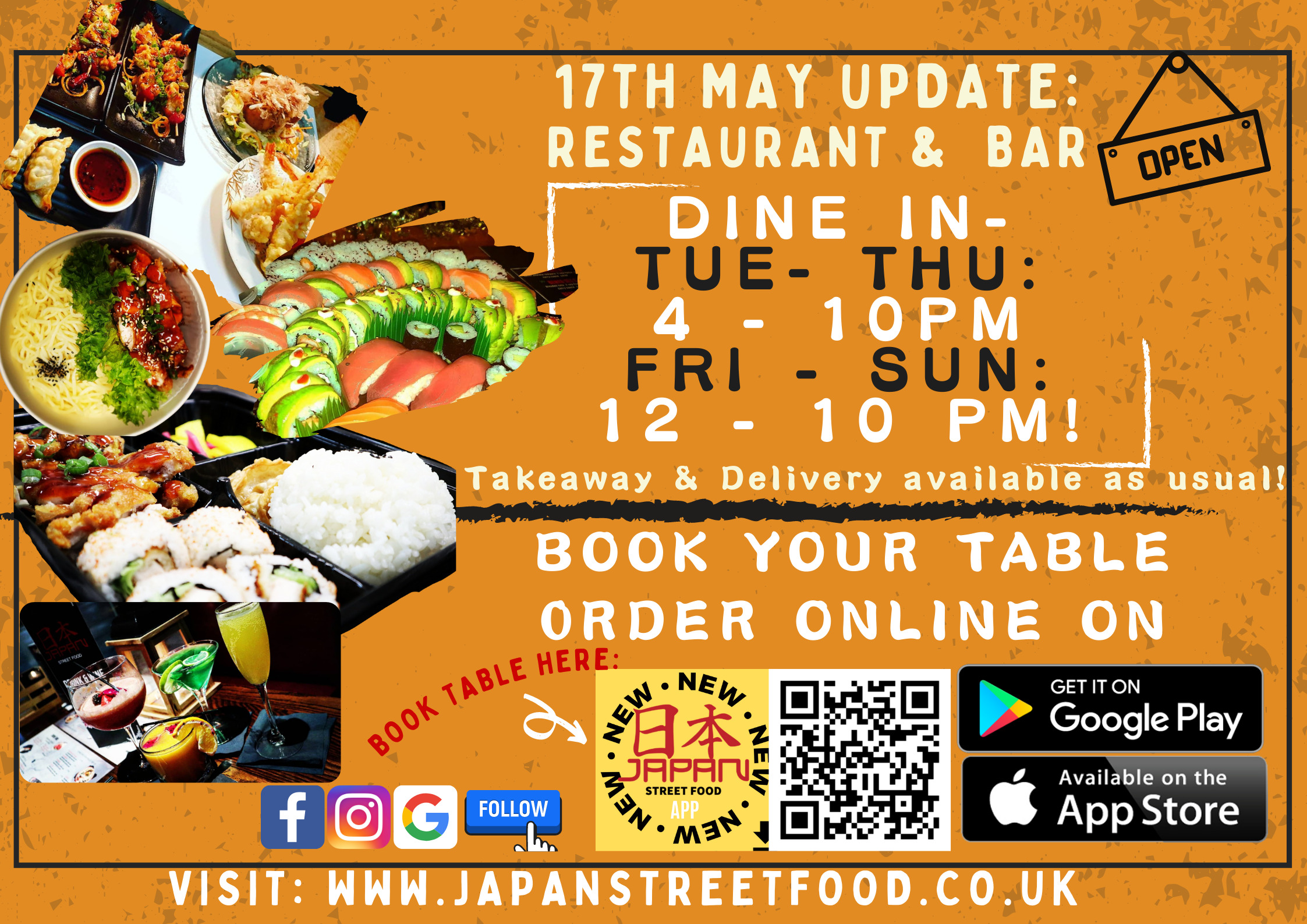 Dine in restaurant and licensed bar open in level 2 alcohol indoors permitted serving Japanese food and drink Japan Street Food Paisley