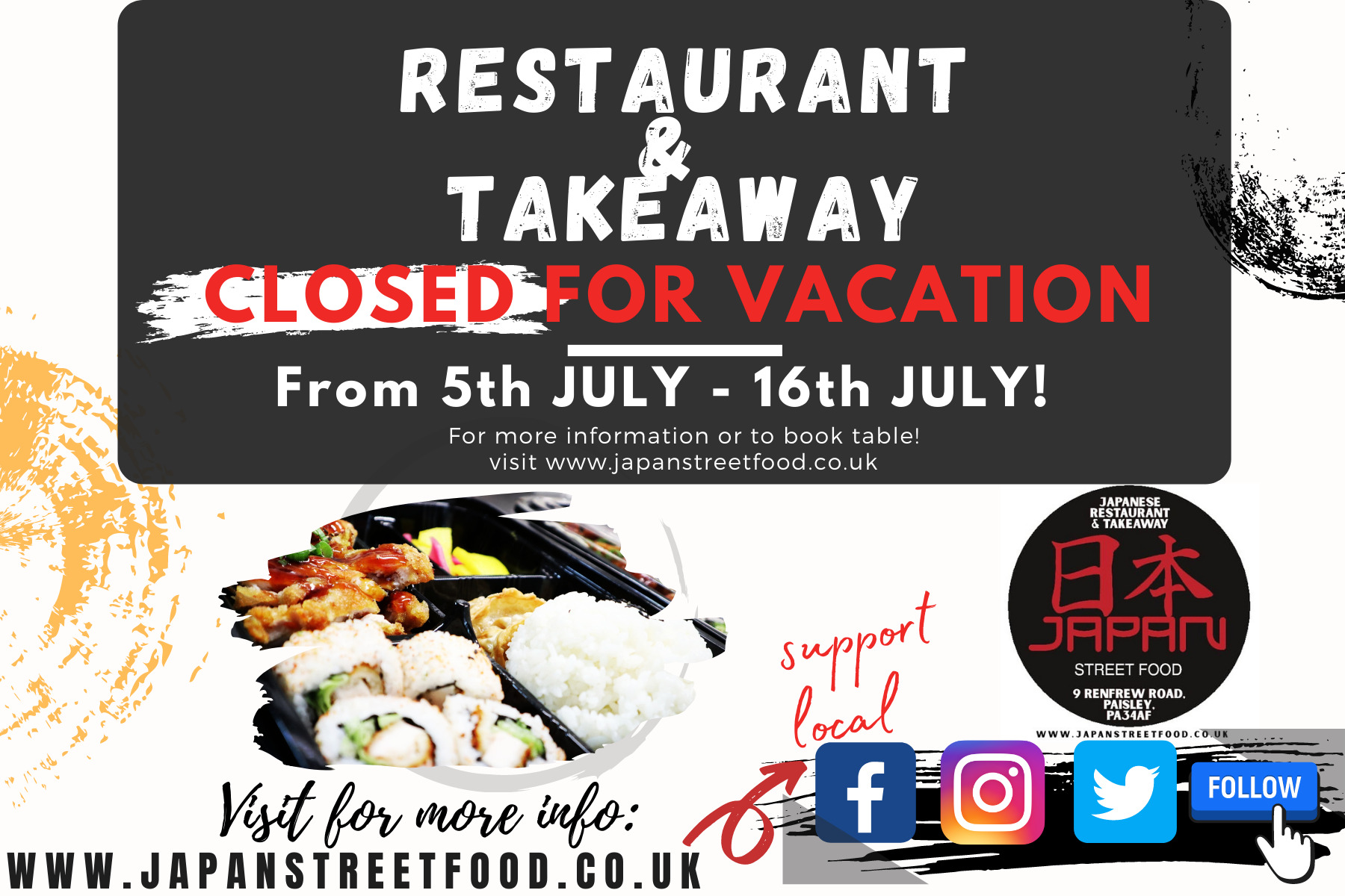 restaurant closed for vacation Japan Street Food Paisley